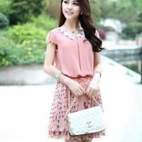 時尚伊人 韓版修身顯瘦打底短袖碎花雪紡洋裝連身裙-M L XL