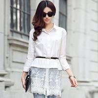 時尚伊人 韓國流行熱賣簡約蕾絲拼接白襯衫-S M L