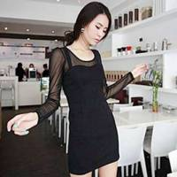 時尚伊人 性感蕾絲網紗洋裝連身裙-M