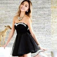 時尚伊人 韓版時尚性感網紗平口蓬蓬洋裝連身裙-M