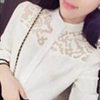 時尚伊人 韓版氣質小立領簍空雕花襯衫