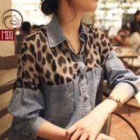 時尚伊人 韓版拼接寬鬆豹紋牛仔襯衫