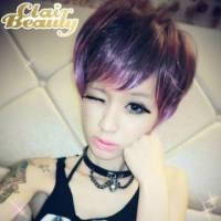 【MB090】挑染混色~魔幻炫紫蓬鬆感短髮