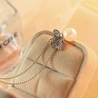 時尚伊人 氣質OL珍珠閃鑽蝴蝶項鍊