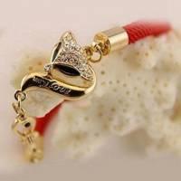 時尚伊人 精緻可愛狐狸鑲鑽紅繩幸運手鍊