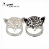 【ARGENT銀飾】動物系列「銀狐 無染黑款 染黑款 」純銀戒指 純銀亮面拋光 硫化染黑處理 單只價