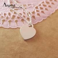 【ARGENT銀飾】造型系列「愛心牌 無刻字 」純銀項鍊 可加購刻字