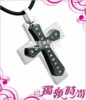 寄託十字白鋼項鍊-黑