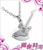 吉他造型白鋼項鍊-黑色