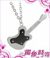 水鑽吉他造型白鋼項鍊