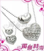 雙愛心漸層式晶鑽項鍊