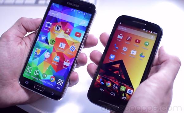 Galaxy S5 實機比拼, 速度竟比入門超便宜 Moto E 稍慢 [影片]