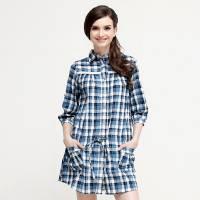 CHEROKEE 女式腰抽帶長襯衫 藍