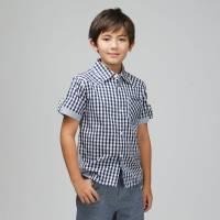 CHEROKEE 男童格紋短袖襯衫 藏青藍