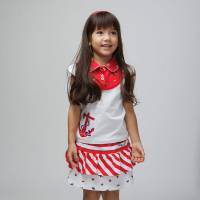 CHEROKEE 女童繡花翻領短袖上衣 白