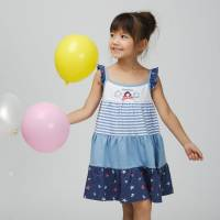 CHEROKEE 女童多色拼接細肩帶小洋裝 淺藍