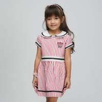 CHEROKEE 女童翻領條紋小洋裝 紅