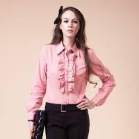 121゜E 胸前小波浪條紋襯衫 粉紅