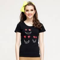 Bés Carol 女式丘比特愛心短袖T恤 黑