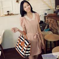 『【午餐特賣會】都會流行~簡雅圓領包袖綁帶連身洋裝.2色』