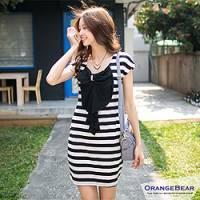 『0703新品 輕質休閒~荷葉蝴蝶結造型條紋洋裝‧2色』