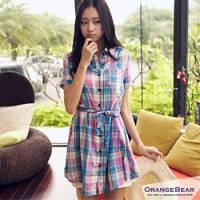 『清純少女~亮麗鮮彩格紋腰綁帶連身洋裝.2色』