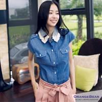 『【午餐特賣會】韓風微甜~蕾絲領小包袖長版丹寧襯衫.2色』