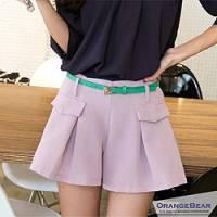 『【夏日下著任選65折】品味主張~彈性腰圍撞色打褶造型西裝褲裙.2色』
