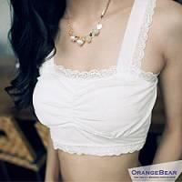 『0617新品【特價款】人氣逸品~細肩美胸平口蕾絲花半截式小可愛.5色』
