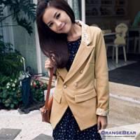 『【午餐特賣會】時尚話題~蕾絲翻領星星雙排釦嚴選OL西裝外套‧2色』