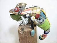 提醒大家要愛惜資源!小森林裡的垃圾動物雕塑