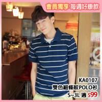 『【盛夏歡樂.任選49折】 簡約休閒系列~雙色細條紋質感男POLO衫‧2色』