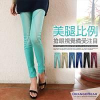 『0814新品 冰沙色褲~3D立體剪裁刷白單寧彈性窄管鉛筆褲‧4色』