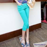 『0621新品 美型曲線~真假口袋層次車線高彩度七分皺褶窄管褲.4色』