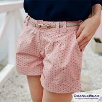 『0415新品 俏麗甜心~小圓點點造型棉質反折短褲‧2色』