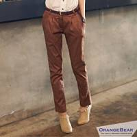 『0430新品【特價款】長腿美型~好康附皮帶彈性腰圍顯瘦窄管褲‧3色』