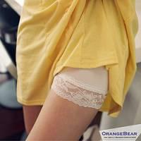 『0717新品【特價款】百搭小品~高透氣舒適棉質蕾絲花邊短褲 安全褲.2色』