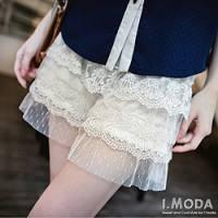 『0717新品 夢幻甜心~彈性腰圍浪漫點點蕾絲緹花短褲.2色』