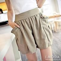 『0513新品 自在悠閒~甜美荷葉大口袋素面棉麻寬褲.4色』