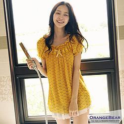 『0408新品 可愛女娃~公主風幾何印花綴蕾絲長版雪紡上衣.2色』