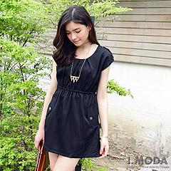 『0516新品 氣質lady~圓領麻花編織腰綁帶造型連身洋裝‧2色』