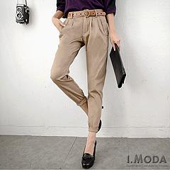 『0808新品 完美出擊~顯瘦俐落壓褶老爺褲(附皮帶)‧3色』