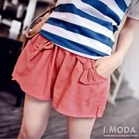 『可愛放浪~蝴蝶結口袋鬆緊綁帶棉麻褲裙‧5色』