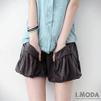 『0717新品 俏皮選擇~飾釦大口袋燈籠棉短褲~附綁帶.2色』