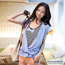 『【午餐特賣會】甜心限定~V型開襟寬袖+條紋背心兩件式長版上衣‧2色』
