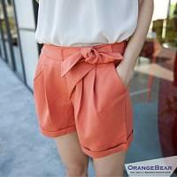 『0816新品 輕閒律動~綁結褶線造型反折口袋短褲‧3色』