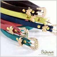 『0607新品【特價款】溫柔可人~優雅珍珠蝴蝶鎖頭造型細版皮帶.5色』