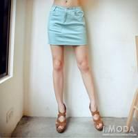 『0422新品 亮眼風格~cute系雲彩色A字丹寧短裙‧3色』