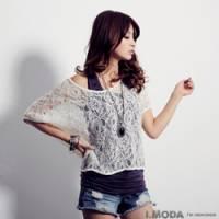 『0913新品 柔情花語~美麗緹花布蕾絲鏤織感罩衫上衣』