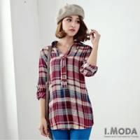 『0613新品 格紋美學~經典配色格紋反褶袖長版棉質襯衫.3色』
